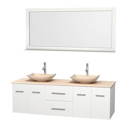 "Wyndham Collection - Centra 72"" White Double Vanity, Ivory Marble Top, Arista Ivory Marble Sinks - Simplicity and elegance combine in the perfect lines of the Centra vanity by the Wyndham Collection. If cutting-edge contemporary design is your style then the Centra vanity is for you - modern, chic and built to last a lifetime. Available with green glass, pure white man-made stone, ivory marble or white carrera marble counters, with stunning vessel or undermount sink(s) and matching mirror(s). Featuring soft close door hinges, drawer glides, and meticulously finished with brushed chrome hardware. The attention to detail on this beautiful vanity is second to none."