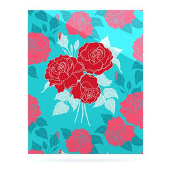 """Kess InHouse - Anneline Sophia """"Summer Rose Red"""" Blue Aqua Metal Luxe Panel (16"""" x 20"""") - Our luxe KESS InHouse art panels are the perfect addition to your super fab living room, dining room, bedroom or bathroom. Heck, we have customers that have them in their sunrooms. These items are the art equivalent to flat screens. They offer a bright splash of color in a sleek and elegant way. They are available in square and rectangle sizes. Comes with a shadow mount for an even sleeker finish. By infusing the dyes of the artwork directly onto specially coated metal panels, the artwork is extremely durable and will showcase the exceptional detail. Use them together to make large art installations or showcase them individually. Our KESS InHouse Art Panels will jump off your walls. We can't wait to see what our interior design savvy clients will come up with next."""