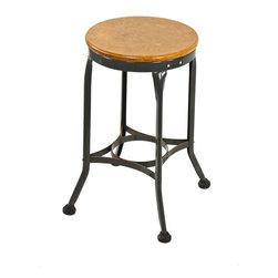 """Industrial Stools - c. 1940's vintage american industrial """"uhl art steel"""" stationary four-legged cold-rolled steel stool with original gunship gray enameled finish - toledo metal furniture co., toledo, oh"""