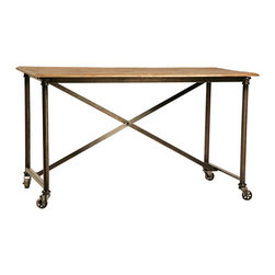 Habitat Home & Garden - Portobello Desk - The Portobello Desk has a steel frame on casters. It features a sealed reclaimed wood top and would be the perfect addition to your home office.