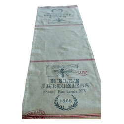 French Feedsack Table Runner - With plenty of French country charm, this runner has the look of well-worn grain sack material. It adds a rustic yet elegant backdrop for your table centerpiece.