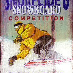 Red Horse Signs - Vintage Signs Snowboard - Make  this  vintage  snowboarding  sign  your  own  and  have  it  personalized  with  a  custom  line  to  replace  Snurfing  at  its  best.  Put  your  name  a  favorite  snow  boarding  term  or  humorous  thought.  It's  all  up  to  you.  Sign  is  printed  directly  to  distressed  wood  for  a  weathered  appearance.  Measures  14  x  26.