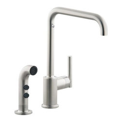 "Kohler - Kohler K-7508-VS Vibrant Stainless Purist Single Handle Kitchen Faucet - Purist  Primary Swing Spout with Spray The simple, architectural form of the Purist faucet line has been extended into the kitchen. Available in two sizes, the single-control design of Purist remains intuitive to use and minimal in form creating visual appeal and an honest interpretation of classic modernity.  Streamline contemporary styling makes clean-up and maintenance simple and quick  Spout rotates 360 degrees with 9-5/8"" clearance below spout for maximum versatility and use with large pots and pans  ADA compliant lever handle for ease of operation  Utilizes KOHLER  installation ring and flexible connections for simplicity of installation  KOHLER finishes resist corrosion and tarnishing, exceeding industry durability standards over two times  KOHLER ceramic disk valves exceed industry longevity standards by over two times, ensuring durable performance for life"