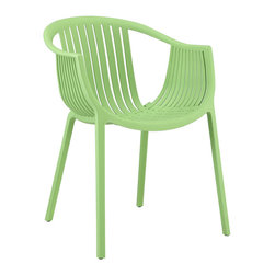 Modway Furniture - Modway Hammock Dining Armchair in Green - Dining Armchair in Green belongs to Hammock Collection by Modway Retreat back to the outdoors with the splendid embrace of the Hammock chair. Made from durable molded plastic, Hammock is suitable for all weathers and conditions. Notable for its distinctive woven pattern and wide arching support, enjoy the festivities while snugly seated in this contemporary chair. Set Includes: One - Hammock Green Plastic Stackable Outdoor Modern Dining Chair Arm Chair (1)