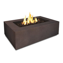 Realflame - Real Flame Baltic Rectangle Fire Table in Kodiak Brown - Define your outdoor space with the clean design of a Real Flame Baltic rectangular fire table. Cast from a high performance, lightweight fiber-concrete that is tinted to the finish color for increased outdoor durability. This fire table comes complete with lava rock filler, and a matching lid for when the burner is not in use. The Baltic Collection carries a CSACertification and features an electronic ignition. Collection available in Glacier Gray or Kodiak Brown finishes. Concrete Material Color will be accurate but Actual finish will vary from photo.Features:Burns Liquid Propane, rated at up to 50,000 BTUs of heat