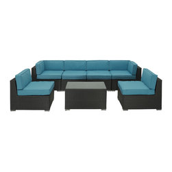 Modway - Outdoor Patio 7-piece Espresso/ Turquoise Sectional Set - Welcome your friends and family to your home with a comfortable place to sit and catch up. This unique sectional set is a versatile seating environment built for patio,backyard or pool areas in need of something dynamic.