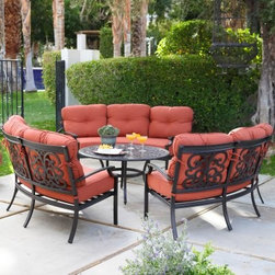 Belham Living Palazetto San Miguel Cast Aluminum Sofa Conversation Set- Seat 9 - Relax alfresco with the comfort of your living room with the San Miguel Cast Aluminum Sofa Conversation Set- Seats 9. This elegant outdoor relaxation set is perfect for revitalizing any patio, deck or outdoor space and creating a fun and relaxing place for friends and family to chat and spend quality time together. Constructed from durable cast aluminum materials, the three half moon sofas feature a classic scrollwork design that winds across the back of their frame, complimenting the chat table. Centralize the 42-inch chat table between these sofas for a conversation set that will keep chitchat effortless. The round table surface around the chat table allows for kicking your feet up or resting drinks on while you're relaxing on the plush solution-dyed olefin cushions. About Alfresco HomeOffering a wide selection of fashionable products, from casual furniture and garden lighting to permanent botanicals and seasonal decor, Alfresco Home casual living products offer a complete line of interior and exterior living furnishings and accents. Based out of King of Prussia, Penn., Alfresco Home continues to blend indoor and outdoor furniture to make a lifestyle of alfresco living inside and outside of the home. Inlaid mosaic tabletops, fine hardwood furnishings, artisan-inspired accents, premium silk botanicals, and all-weather wicker sets are just a few examples of the kind of treasures you'll find in Alfresco's specially designed collections.