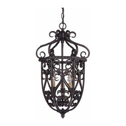 "Savoy House - Savoy House 3P-8293-3-52 Bellingham 14"" Three-Light Cage Foyer Pendant from the - Savoy House 3P-8293-3-52 Bellingham 14"" Three-Light Cage Foyer PendantBellingham is a European inspired design from Savoy House that will complement a wide range of home d�cor. The Bark & Gold finish is the perfect backdrop for Textured Scavo Glass shades, creating a rich and appealing classic.Savoy House 3P-8293-3-52 Features:"