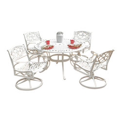 """Home Styles - Home Styles Biscayne 5PC 48"""" Dining Table Set - Home Styles - Patio Dining Sets - 5552325 - Home Styles Biscayne 5PC Set includes 48 inch Round Outdoor Dining Table and Four Swivel Chairs. Set is constructed of cast aluminum with a White finish. Features include powder coat finish sealed with a clear coat to protect finish attractively patterned table top has center opening to accommodate umbrellas and nylon glides on all legs. Table Size:  48w 48d 30h Chair Size: 24.4w 22d 33.46h.  Seat height 16.  Stainless steel hardware."""