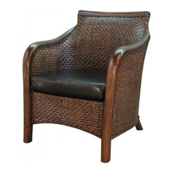 NPD (New Pacific Direct) Furniture - Andes Living Armchair by NPD Furniture, Antique Brown - Bring that tropical feeling home with this inviting and appealing Andes living armchair. It features antique brown rattan and solid wood frame with seat to add extra comfy seat. Ideal for patio, screen porch, four season room or sun room.