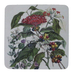 Golden Hill Studio - Floral Mix Coaster, Set of 4 - This is a wonderful antique print on a super absorbent neoprene coaster.  Made, printed and assembled in the USA!