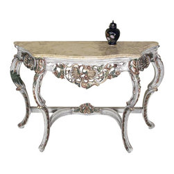 MBW Furniture - French Antiqued White Wall Table Console Foyer w/ Marble - This product is finely constructed from top grade solid wood. Artisans use the old world method of tongue and groove and mortise and tenon joinery to create this beautiful and durable piece of furniture. Its superb hand-crafted quality will add a touch of elegance to your home.