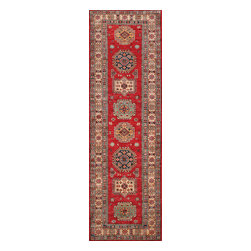 Rugsville - Rugsville  Kazak Red Wool 16505-269 2.6X9Rug - Our Super Kazak collection carries some of the finest pieces weaved in the Orient! These Kazaks are a modern shape