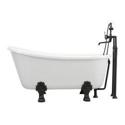 "The Tub Studio - 'GRITTI' CoreAcryl WHITE Acrylic Swedish Slipper Clawfoot Tub, 58"" Length - Product Details"