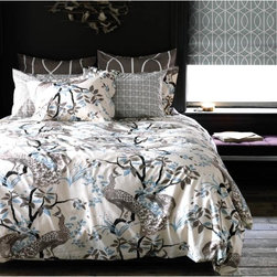 DwellStudio  Peacock Dove Duvet Set - This scrumptious duvet is a bit chinoiserie, a bit regency and a bit baroque. The overall result is that it is serene and contemporary.