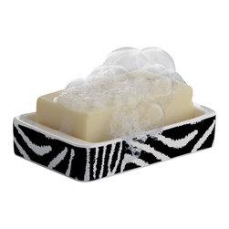 Gedy - Rectangle White Black Soap Holder - Safari style square countertop soap holder with zebra design.