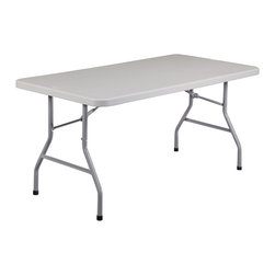 National Public Seating - National Public Seating 60 Inch Rectangular Blow Mold Folding Table in Gray - This National Public Seating BT3060 30 inch x 60 inch gray blow molded plastic table is great for use at any event where you need to be able to quickly set up and take down tables. Its lightweight yet sturdy body features a 1 3/4 inch thick speckled gray plastic top, 17-gauge framing system with wishbone legs, and gravity locks for increased stability. Plus, the entire unit can withstand temperatures up to 212 degrees Fahrenheit. Ideal for use in cafeterias, banquet halls, at outdoor functions, catered events, and more, the gray textured legs neatly fold underneath the tabletop to maximize space when storing the tables. And, because it boasts a weather resistant construction, you can use these tables indoors or out.