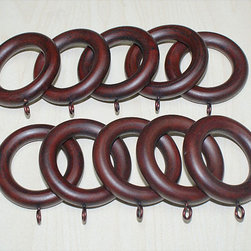 None - Adeline Smooth Mahogany Wood Curtain Rings (Set of 10) - Spruce up your curtains and room with these stylish wood curtain rings from Adeline. The 10-set mahogany rings securely attach to any style of curtains and add a little touch of style to your decor.