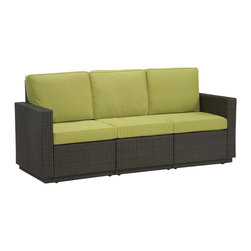 Home Styles - Home Styles Riviera Three Seat Sofa in Green Apple - Home Styles - Outdoor Sofas - 580361 - Riviera Three Seat Sofa with Green Apple colored Fabric -Finally!!  An economical solution for upscale outdoor furniture��_.ready-to-assemble synthetic resin wicker. Body construction consists of Cycroplene a synthetic resin wicker in a deep brown color with a gold streak design woven over rust-resistant powder-coated aluminum frames.  Cycroplene is a 100% recyclable moisture and weather resistant low maintenance material.  All pieces feature shaped legs with adjustable levelers to accommodate uneven surfaces.  All seating pieces bolt together for additional support and sturdiness. Cushions fabric is stain resistant fade resistant water repellent and requires very little maintenance.
