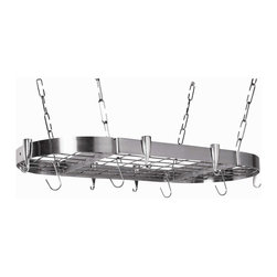 Group 5 Marketing - Brushed Stainless Steel Oval Kitchen Pot Rack - The Stainless Steel Oval Pot Rack has a brushed stainless steel frame with a sophisticated shine. Cast aluminum hooks and the metal center grid complete the brilliant look. The center grid offers a place to hang the hooks as well as acting as a shelf for your cookbooks, larger items, or as a decorative display. Includes 10 Cast Aluminum Pan Hooks and 12 S-Hooks, all Mounting Hardware and Complete Instruction booklet.
