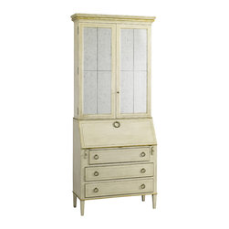Lillian August - Lillian August Leif Secretary LA92569-01 - Reproduction of a swedish secretary desk in an antique linen finish with aged gold accents and eglomise mirrored panels on the door fronts.