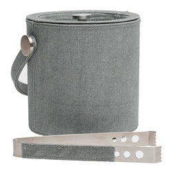 """Pigeon & Poodle - Pigeon & Poodle Lambeth Chambray Ice Bucket - Pigeon & Poodle's Lambeth ice bucket lends the modern bar sophisticated function. The classic accessory's chambray gray canvas cover delivers a subtly marbled appearance. 7""""D x 6.5""""H; Hand-dyed canvas; Stainless steel; Includes tongs and lid; Hand wash only; not dishwasher safe; Variations may occur"""