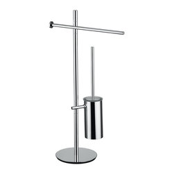 "WS Bath Collections - WS Bath Collections Bloom 2802 Bathroom Accessory Stand - Bloom 2802, 15.4"" x 9.1"" x 28.3"", Bathroom Accessory Stand with Towel Bar, Toilet Paper Holder and Toilet Brush Holder in Polished Chrome"