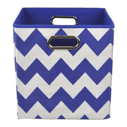 Modern Littles - Bold Blue Chevron Folding Storage Bin - Organize in style with this colorful storage bin. With its bold hue and easy-to-use design, it'll give any room a fun pop -- and hold all of baby's toys, blankets, and more. Perfect for kids' rooms, playrooms, or closets, it folds flat when not in use for easy storage, and the lightweight design features handles for effortless carrying.