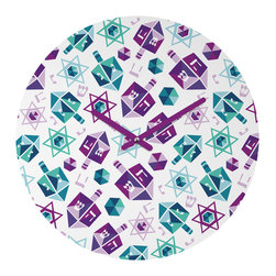 """DENY Designs - DENY Designs Zoe Wodarz Dreidel Facets Round Clock - Talk about a small home decor accessory that makes a HUGE impact! Our affordable 12"""" Round Clock comes complete with the artwork of your choice and coordinating clock hands. Hang it on it's own or group it in a collection. Time's a tickin'!"""