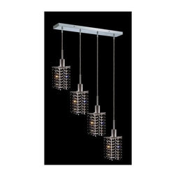 Elegant Lighting - Mini Jet Crystal Pendant w 4 Lights in Chrome (Royal Cut) - Choose Crystal: Royal Cut. 3 ft. Chain/Wire Included. Bulbs not included. Crystal Color: Jet (Black). Chrome finish. Number of Bulbs: 4. Bulb Type: GU10. Bulb Wattage: 55. Max Wattage: 220. Voltage: 110V-125V. Assembly required. Meets UL & ULC Standards: Yes. 26 in. D x 8 to 48 in. H (12lbs.)Description of Crystal trim:Royal Cut, a combination of high quality lead free machine cut and machine polished crystals & full-lead machined-cut crystals..SPECTRA Swarovski, this breed of crystal offers maximum optical quality and radiance. Machined cut and polished, a Swarovski technician¢s strict production demands are applied to this lead free, high quality crystal.Strass Swarovski is an exercise in technical perfection, Swarovski ELEMENTS crystal meets all standards of perfection. It is original, flawless and brilliant, possessing lead oxide in excess of 39%. Made in Austria, each facet is perfectly cut and polished by machine to maintain optical purity and consistency. An invisible coating is applied at the end of the process to make the crystal easier to clean. While available in clear it can be specially ordered in a variety of colors.Not all trims are available on all models.