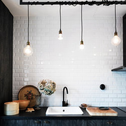 Poppytalk: An Industrial Inspired Kitchen - this could be a fun project for a variety of spaces.  great industrial feel.