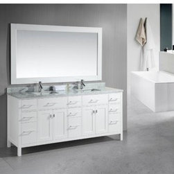 "Design Elements LLC - London 78"" Double Sink Vanity Set in White - The London 78"" double-sink vanity in white is the largest model in our London series.This stylish vanity is sturdily built using solid hardwood for both the frame and the panels. The classic look of the white Carrera marble countertop and the contemporary style of the white cabinet meld to create a design that is both clean and luxurious. The generous storage capacity of this vanity includes two pull-down shelves, nine pullout drawers, and two soft-closing double-door cabinets, all accented with satin nickel hardware. A matching framed mirror and a pair of chrome pop-up drains are also included in this set."