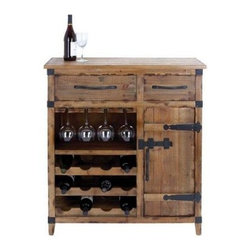 Woodland Imports Prairie Wood Wine Cabinet - 12 Bottle - Warm, rugged and classic, the Woodland Imports Prairie Wood Wine Cabinet - 12 Bottle offers a handsome spot to stow and serve. Crafted of solid hardwood with black metal accents, this wine rack and cabinet features a serving station, two handy storage drawers, a closed-door cabinet, stemware rack and open storage for 12 of your favorite wines. This traditional wine cabinet is finished in natural wood.