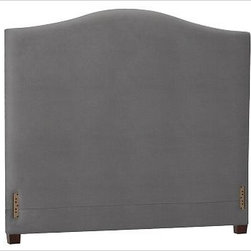 "Raleigh Camelback Headboard, Cal. King, everydaysuede(TM) Metal Gray - Crafted by our own master upholsterers in the heart of North Carolina, our Raleigh Bed & Headboard is available in a graceful camelback silhouette. Crafted with a kiln-dried hardwood frame. Headboard, foot rail and side rails are thickly padded and tightly upholstered with your choice of fabric. Exposed block feet have a hand-applied espresso finish. Bed is designed for use with a box spring and mattress. Headboard also available separately. The headboard-only option is guaranteed to fit with our PB metal bedframe using the headboard hardware.. This item can also be customized with your choice of over {{link path='pages/popups/fab_leather_popup.html' class='popup' width='720' height='800'}}80 custom fabrics and colors{{/link}}. For details and pricing on custom fabrics, please call us at 1.800.840.3658 or click Live Help. Crafted in the USA. Full: 57.5"" wide x 83.5"" long x 59"" high Queen: 64.5"" wide x 88.5"" long x 59"" high King: 80.5"" wide x 88.5"" long x 59"" high Cal. King: 74.5"" wide x 92.5"" long x 59"" high Full: 57.5"" wide x 59"" high x 4.5"" deep Queen: 64.5"" wide x 59"" high x 4.5"" deep King: 80.5"" wide x 59"" high x 4.5"" deep Cal. King: 74.5"" wide x 59"" high x 4.5"" deep"