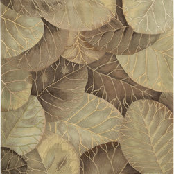 Nourison - Nourison Tropics Floral Leaves Brown Green 8' x 11' Rug by RugLots - This collection features imaginative tropical floral designs in a striking range of colors. Add drama and excitement with these beautiful hot-house interpretations. Heat up the surroundings and bring a touch of the tropics to any interior.