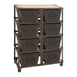 Benzara - Metal Wood Cabinet With 8 Racks 41in.H, 29in.W - Size: 29 Wide x 12 Depth x 41 High (Inches)