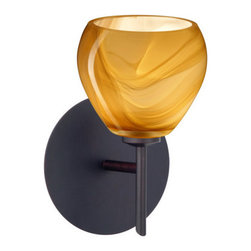 Besa Lighting - Besa Lighting 1SW-5605HN Tay Tay 1 Light Halogen Bathroom Sconce - The Tay Tay is a compact handcrafted glass, softly radiused to fit gracefully into contemporary spaces. This unique decor is handcrafted, with layered swirls of yellow-amber and golden-brown against white, finished to a high gloss. It's classic swirl pattern and high gloss surface has a truly florid gleam. Honey is a hand-blown glass designed to have a shiny and polished finish. The glass is gathered and rolled into shape a unique pattern is formed that cannot be replicated. This blown glass is handcrafted by a skilled artisan, utilizing century-old techniques passed down from generation to generation. Each piece of this decor has its own unique artistic nature that can be individually appreciated. The mini sconce is equipped with a decorative lampholder mounted to either a low profile round or square canopy.Features: