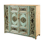 Four Hands - Painted Cabinet 2 Door - Created in homage to antique Chinese design, this cabinet will make a charming addition to your home. It's crafted from reclaimed pine, distressed and then hand-painted with a crackle finish and layers of lacquer for an aged effect.