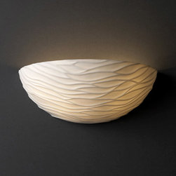Justice Design Group - Waves Porcelain Wall Sconce - As a luminary for your upscale d�cor, this half moon wall sconce scores a perfect 10.  Elegant waves add superb dimension and texture to this porcelain piece, making it subtle in design but grand in style.  Mounting center is 2 �?. Justice Design Group - POR-8802-WAVE