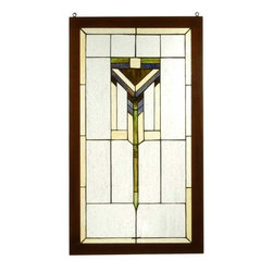 "Meyda - 17""W X 30""H Prairie Wood Frame Stained Glass Window - This simple and handsome prairie pattern of avocadogreen, bark brown and wispy beige adorn a clear seedyglass window. The window is handcrafted utilizing the copper foil construction process and 59 pieces ofstained art glass encased in a wood frame. Mountingbracket and chain are included."
