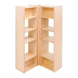 Hardware Resources - Pantry 45.63 in. Swing Out Cabinet - Four adjustable middle shelves. Piano hinge mount allows left and right shelves to center mounting strip. Removable shelves and shelf supports. Used in 36 in. width pantry cabinets. Made from solid maple and plywood. Clear UV finish. Made in USA. 12 in. W x 8 in. D x 45.63 in. H