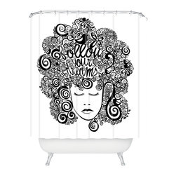 DENY Designs - DENY Designs Valentina Ramos Your Dreams Shower Curtain - Who says bathrooms can't be fun? To get the most bang for your buck, start with an artistic, inventive shower curtain. We've got endless options that will really make your bathroom pop. Heck, your guests may start spending a little extra time in there because of it!
