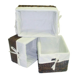 America Basket - 3 Pc Rectangular Storage Baskets w Cream Colored Liner - Both versatile and stylish, this three-piece basket set will infuse any space with a tropical spirit while adding much needed storage space. Lined with cream colored fabric, the basket set can be used in a bathroom for towels and toiletries, in a nursery for diapers and other items or anywhere you need extra storage and organization. Set includes 3 baskets with Cream colored liners. Handcrafted woven maize storage baskets. Ideal for organizing any home or office space. Decorative accessories will add warmth and style to your home decor. Made of high-quality maize with a metal frame for strength. Rich Walnut color. 14 in. L x 10 in. W x 7.5 in. H (8 lbs.)