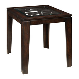 Standard Furniture - Standard Furniture Crackle Square End Table in Dark Merlot - The cosmopolitan character of crackle occasional tables combines fashionable modern styling with triangular shapes and artfully created geometric wooden lattices.