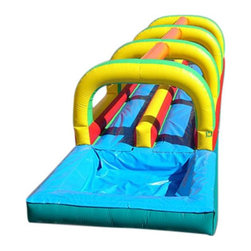 Kidwise - Kidwise Commercial Slide & Splash Inflatable Slide with Pool - KE-WS4303 - Shop for Tents and Playhouses from Hayneedle.com! The Slide & Splash Inflatable Slide with Pool has two slide lanes for twice the fun. This inflatable waterslide has a splash pool at the bottom to maximize fun. It is made of 18-ounce reinforced vinyl material for incredible durability and accommodates two players with a maximum weight of 300 pounds. This inflatable slide comes with a carry bag stakes instructions blower patch kit hose assembly and warranty. Folded up or inflated the entire product weighs 285 pounds and is perfect for either commercial or home use. Also includes 30 day warranty on material defects and workmanship.Information About DeliveryWe are pleased to offer LTL delivery on this item that includes tailgate service. Tailgate service means that the item is lifted off the truck and placed at an immediate curbside location such as a driveway or parking lot. Our LTL delivery service will call to pre-arrange a delivery time. Please note that the item is very heavy. We suggest you make separate arrangements for help moving the item to its final location. If you would like additional help with the item from the LTL delivery service you may make separate arrangements when confirming the delivery time. Additional help moving the item will require separate additional fees payable to the LTL carrier.A lead-free product: a note from KidwiseRecent concerns regarding inflatable bounce products with illegal lead concentrations have lead to allegations against producers and distributors of these products by the state of California. Naturally this serious matter is of concern to us and to our customers. Kidwise products are not included in these allegations. Our materials are tested at intervals throughout the year and after production runs. We have always tested for lead content in materials to verify our products are safe for kids. We also use 3P fabric which protects kids from 