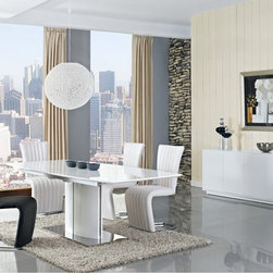 Creative Furniture - Blanch White High Gloss/Chrome Extendable 8 PC Dining Set (Table, 6 Chairs and B - Need amazing dining collection that will easily blend with any modern decor? Now you can host a large dinner party without anxiety with this modern and stylish Blanch White High Gloss/Chrome Extendable 8 PC Dining Set (Table, 6 Chairs and Buffet). With a high gloss MDF top, the table easily extends with the extra leaf. Providing a unique look for any dining room, buffet uses MDF, high gloss and brushed steel.    Set includes Blanch Dining Table, 6 Barcelona Chairs and Blanch Buffet.    Features: