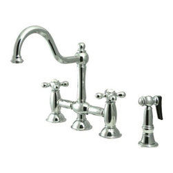 """Kingston Brass - Polished Chrome 8"""" Deck Mount Kitchen Faucet with Brass Sprayer KS3791AXBS - This faucet consists of stylish, immaculate body work and a traditional look compliant to those who desire the classic style design. The faucet has a double handle deck mount setup and features an 8"""" centerset platform. The body is fabricated from solid brass for durability and long-lasting use. The color finish is made of polished chrome for that reflective shine, as well as resisting scratches, corrosion and tarnishing. The spout rotates 360 degrees for accessibility and convenience. The handle acts as a 1/4-turn on/off water control mechanism for easy management of water volume and temperature.  The faucet operates with a ceramic disc valve for droplet-free functionality with the water measured 2.2 GPM (8.3 LPM) and a 60 PSI maximum rate.  An integrated removable aerator is inserted beneath the spout's head piece for conserving water flow. A 10-year limited warranty is provided to the original consumer. Brass sprayer included.. Manufacturer: Kingston Brass. Model: KS3791AXBS. UPC: 663370014581. Product Name: 8"""" Deck Mount Kitchen Faucet with Brass Sprayer. Collection / Series: Restoration. Finish: Polished Chrome. Theme: Classic. Material: Brass. Type: Faucet. Features: Includes Brass Sprayer"""
