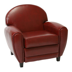 Great Deal Furniture - Hayley Leather Club Chair - Light a fire and cozy up in this luxurious club chair. It features over-sized dimensions, plush cushions, ruby red bonded leather and solid black legs. No doubt, everyone will be fighting over this seat.