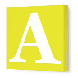 "Avalisa - Letter - Upper Case 'A' Stretched Wall Art, Yellow, 18"" x 18"" - Spell it out loud. These uppercase letters on stretched canvas would look wonderful in a nursery touting your little one's name, but don't stop there; they could work most anywhere in the home you'd like to add some playful text to the walls. Mix and match colors for a truly fun feel or stick to one color for a more uniform look."