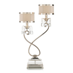Kathy Kuo Home - Starlight Hollywood Regency Silver Crystal Double Table Lamp - Right - Evoking an artistic sculpture, this swirling, silver table lamp has two fixtures, complete with faceted crystals and antique white shades. Rising slightly higher on the right side, this luminous lamp works wonderfully paired on either side of a sofa, fireplace or luxurious bed.